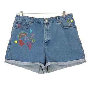 ASOS Denim embroidered rainbow cuffed shorts A0099